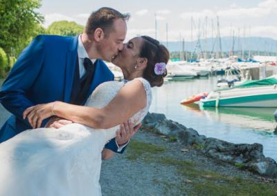 Mariage Carine & Eric-Le baisé-port de Sciez